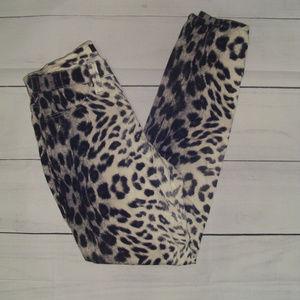Karen Kane Animal Leopard Print Skinny Jeans 6